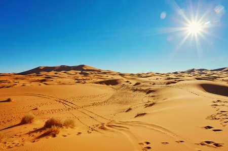 Beautiful sand dunes in the Sahara desert, Merzouga, Morocco