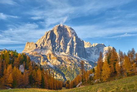 Autumn scene in Dolomites mountain. Tofana, Cinque Torri -Dolomites. Italy