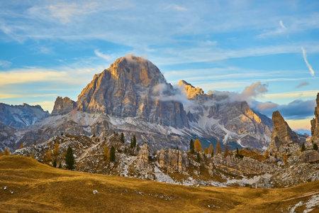 Alpine red autumn morning, Passo Falzarego, Cinque Torri, Tofana, Cortina d'Ampezzo, Belluno, Trento, Trento-Alto Adige, Dolomites Italy