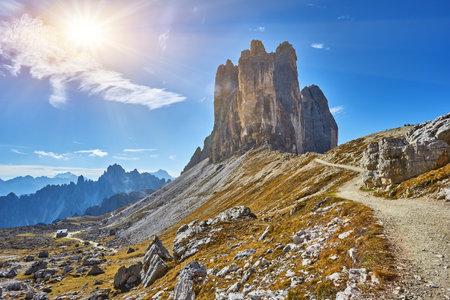 World famous peaks of Tre Cime di Lavaredo National park,  in Dolomites, Italy