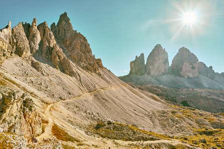 World famous peaks of Tre Cime di Lavaredo National park,  site in Dolomites, Italy