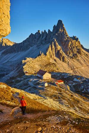 Dolomites mountain panorama in Italy at sunset - Tre Cime di Lavaredo 版權商用圖片