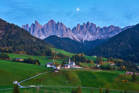 Famous best alpine place of the world, Santa Maddalena village with magical Dolomites mountains in background, Val di Funes valley, Trentino Alto Adige region, Italy, Europe