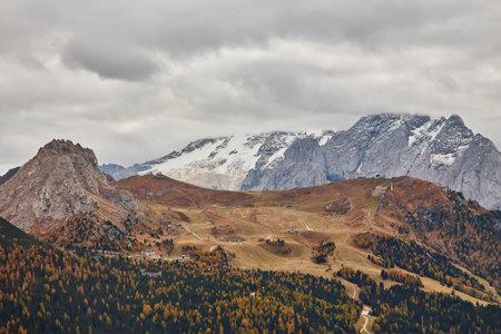 Nice panoramic view of Italian Dolomities - autumn