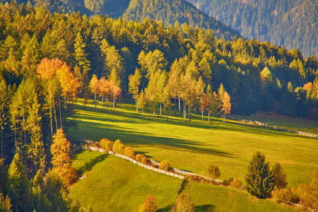 Amazing autumn scenery in Santa Maddalena village with church, colorful trees and meadows under rising sun rays. Dolomite Alps, South Tyrol, Italy. 版權商用圖片