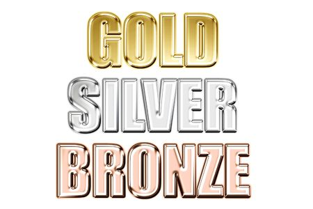 Words gold silver bronze in style metal on a white background
