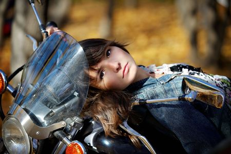 gait: Portrait of the girl on a motorcycle
