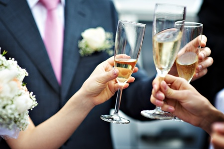 A toast to newlyweds at the wedding Stock Photo