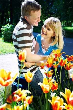 Man, woman,Tulips, spring, positive, love, happiness Stock Photo - 10697884