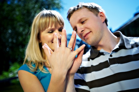Happy couple. Hand with ring Stock Photo - 10726945