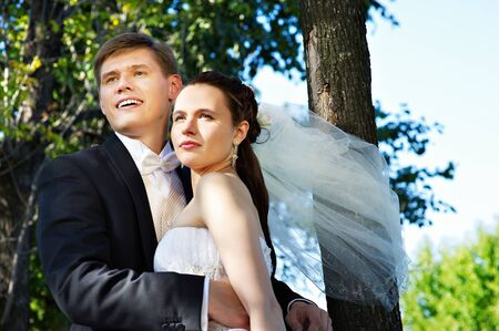 Happy bride and groom at the wedding walk Stock Photo - 10751655