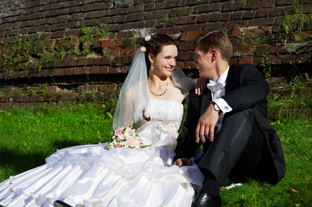 Beautiful bride and groom sit on the grass. Wedding walk.