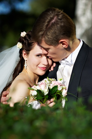 groom and bride: Happy bride and groom at the wedding walk