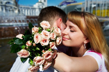 Romantic hug the guy and girl on lovers dating Stock Photo - 10811413