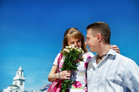 Romantic meeting guys and girls in summer