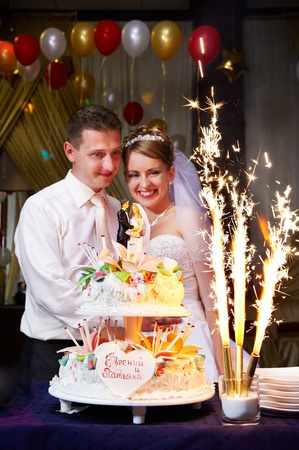 Happy bride and groom at the wedding cake with fireworks