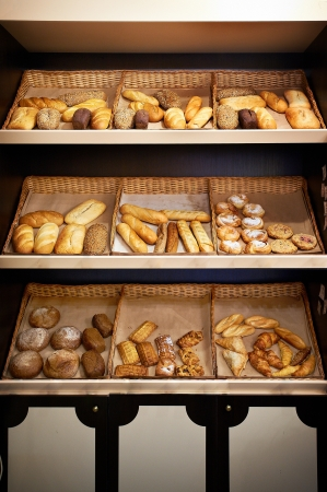 Shelves with bread at small store