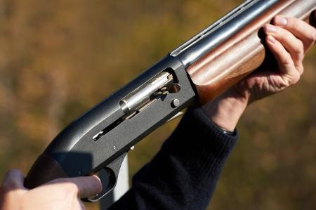 Gun in the hands of a hunter Standard-Bild