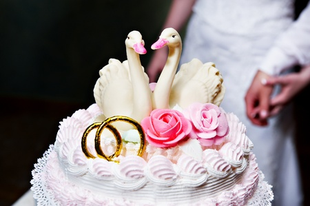 Two swans on a wedding cake and hands of bride and groom photo