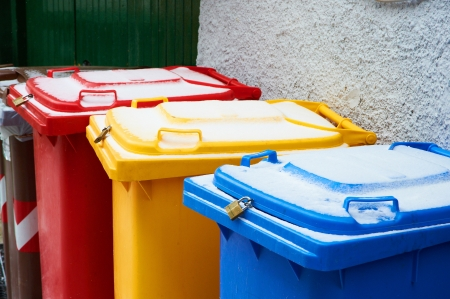 Colorful trash cans on the street