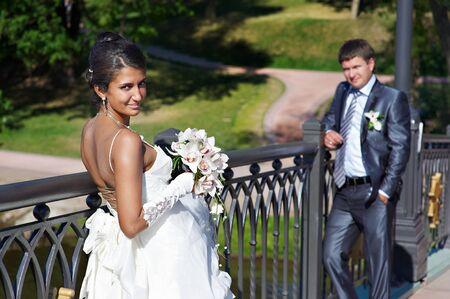 Bride and fiance on wedding walk photo