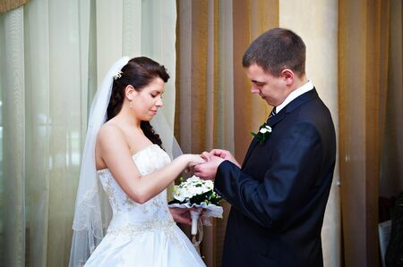 solemn: Elegant groom wears a wedding ring a happy bride. Solemn registration of marriage. Stock Photo
