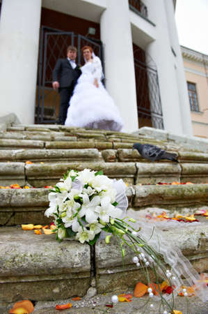 Wedding bouquet no stair and groom and bride photo