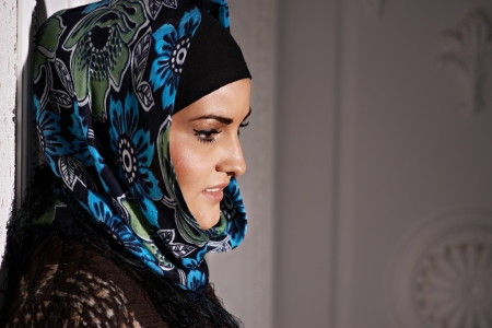 Beautiful Muslim girl headscarf photo