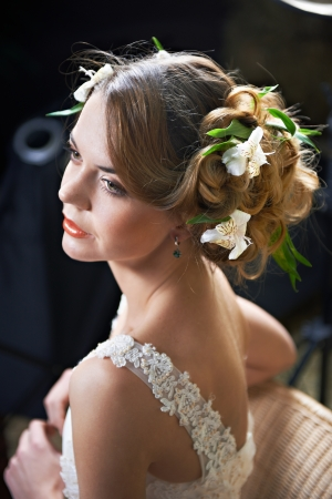 Hairstyle beauty girl woven with flowers white lily