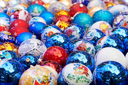 Bright sparkling Christmas balls - background photo