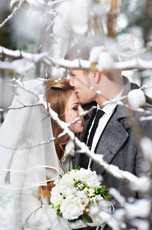 Lovers bride and groom in winter day photo
