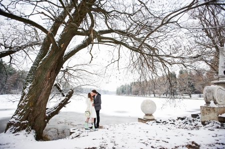 Kiss bride and groom in winter landscape on wedding day photo