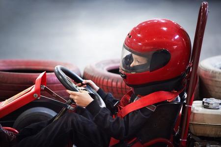 Children karting on start Banque d'images