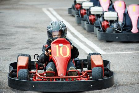 carting: Children karting on start Stock Photo