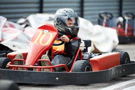 Children karting on start Stock Photo