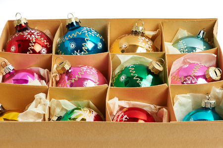 carboard box: Christmas balls in a carboard box