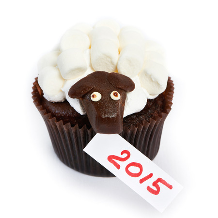 Cupcake lamb with marshmallow as simbol 2015 new years isolated on white background photo