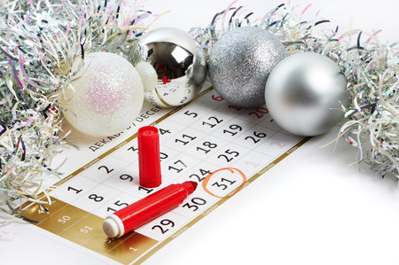 Christmas calendar and prepare for the New Year isolated your text photo