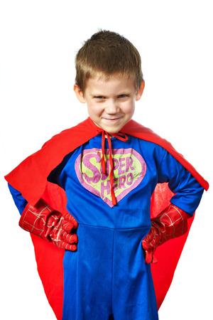 caped: Super Hero Boy isolated on white background