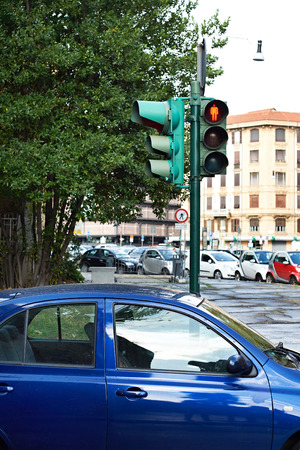 stopped: Red traffic lights for pedestrians on the crossroads