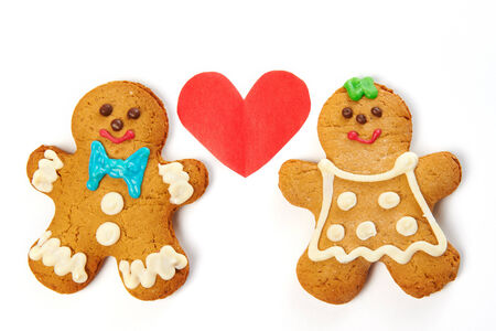 Gingerbread cookies isolated on white background photo