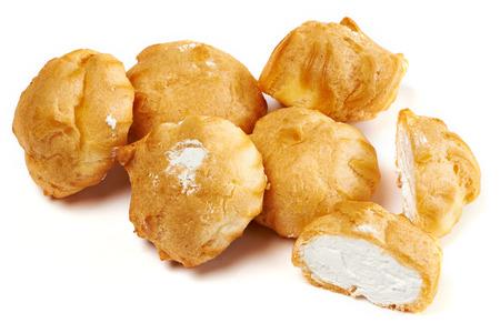 choux bun: Profiteroles isolated on white background