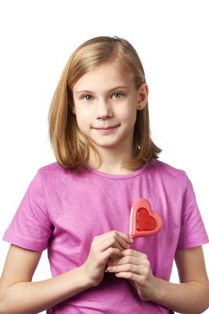 beautyful: Beautyful girl with lollipop hearts isolated