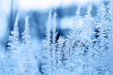 lustre: Icy pattern on glass in winter Stock Photo