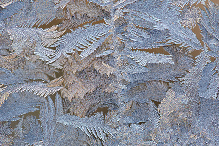 lustre: Beautiful frost patterns on glass in winter Stock Photo