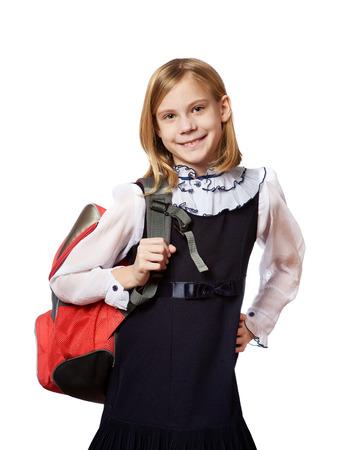 school bag: Ragazza in piedi con la borsa di scuola. Istruzione e concetto di scuola