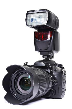 A set of photographs. DSLR camera, lens and flash