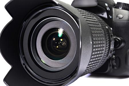 dslr: DSLR black camera close-up Stock Photo