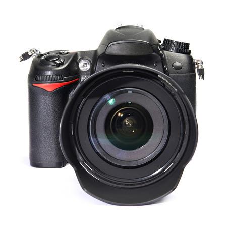 dslr: DSLR black camera white isolated Stock Photo