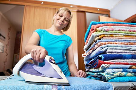 ironing board: Woman housewife from the ironing board